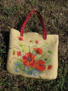 Felted handbag 'Poppies'