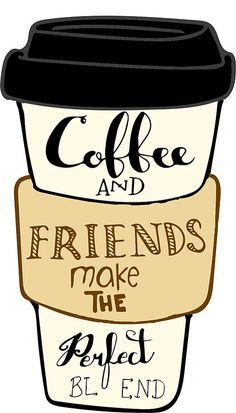 'Coffee and friends' Sticker by Coffee Bar Home, Coffee Shop, Coffee Cups, Kawaii Girl Drawings, Cute Drawings, Burberry Bucket Bag, Starbucks Art, Coffee Artwork, Coffee Illustration