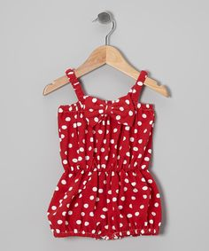 Look at this #zulilyfind! Red Polka Dot Bow Romper - Infant & Toddler by Baby Gem #zulilyfinds