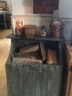 Primitive wood box a must for fires in March.