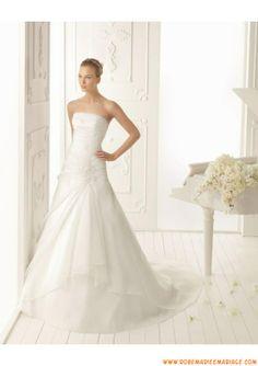 Robe de mariée 2013 organza drapes appliques avec traine