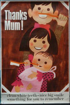 Thanks Mum! Vintage British Dental Health Poster