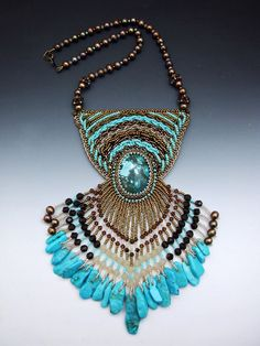 Turquoise Bead Embroidered Necklace. $275.00, via Etsy.