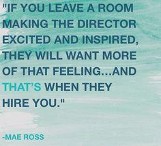 Acting advice, make directors remember you #MaeRoss