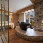 elegant stone bathroom 4 design with fireplace