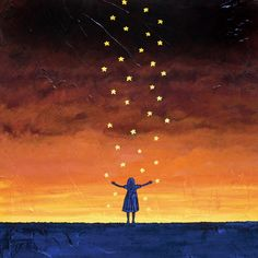 "Girl and Stars at night fine art print - CATCH a FALLING STAR - 8"" x 10"" signed by artists on Etsy, $16.40 AUD"