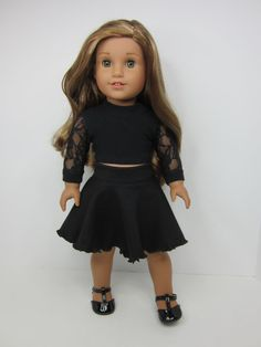 American Girl doll clothes 2 pc Black skater by JazzyDollDuds