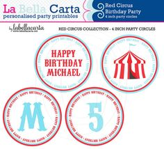 Red Circus Printable 4 inch party circle, Circus Birthday, Circus Party, Printable Party, DIY Party, Pink Circus Party