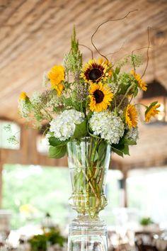Sunflower + hydrangea arrangement.