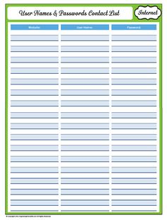 31 Days of Home Management Binder Printables: Day Website User Names and Passwords - Organizing Homelife Password Printable, Emergency Binder, Household Binder, Home Binder, Home Management Binder, Organizing Your Home, Organizing Paperwork, Organizing Ideas, Organized Mom