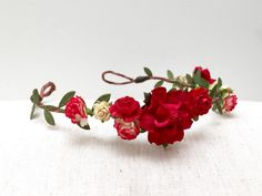 Red rose flower crown headband/ wedding bridal by AbbeysBlooms