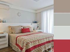 20 paletas de cores para quarto de casal para usar na decoração Home Design Decor, House Design, Home Decor, Cool Roof, Double Room, Work Surface, Stone Flooring, Color Shades, Mosaic Glass