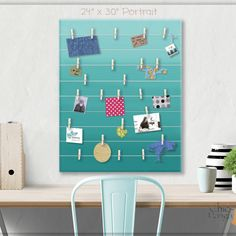 A beautiful way to display your cards and memos and decorate any room.This display board can be hanged in a dorm, kids room, teens room, office, kitchen, family space and more. Personalization option. 10 design options.Hand painted canvas with wooden clothespins.#giftforher #Bulletinboard #cardsdisplay #tealombre #ombre #teal #tealroomdecor #girlsroom #giftforgirl #teensroom #officeorganizer #memoholder #homeorganizer #personalizedgift #giftforteens #freeshipping #christmasgift #hannukahgift