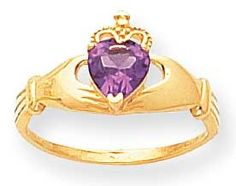 Claddagh Birthstone Rings - Synthetic Birthstone Alexandrite June Yellow Gold Ring