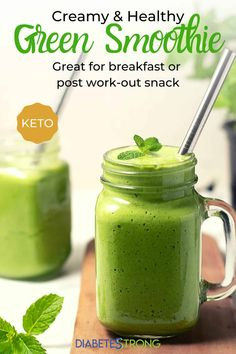 Start your day right with this easy low-carb green keto smoothie recipe. Using just 7 ingredients, you will love this power-packed green smoothie! #diabetesstrongrecipe #diabeticdiet #lowcarb #ketorecipe #easyketo Diabetic Smoothies, Keto Smoothie Recipes, Low Carb Smoothies, Healthy Green Smoothies, Weight Loss Smoothies, Fruit Smoothies, Keto Recipes, Juicer Recipes, Diabetic Recipes