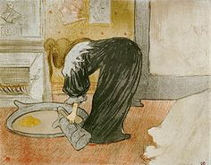 The brilliance of Henri de Toulouse-Lautrec is often lost in the mythology that surrounds his short life. Here is Femme au tub—Le tub, which is the signature lithograph from his Elles collection.