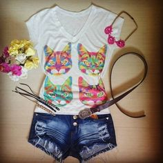 camiseta-tshirt-estampa-gato-gatos-short-hot-pants-jeans-comprar