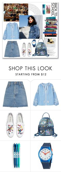 """""""Back To School Denim"""" by christined1960 ❤ liked on Polyvore featuring Balmain, AGOLDE, Etiquette, 7 For All Mankind, MANGO, Joshua's, Steve Madden, Vera Bradley, Swatch and Gucci"""