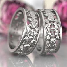 Thistle Ring Set of 2 Rings 925 Sterling Silver by CelticEternity