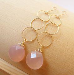 Peach Chalcedony dangle earrings. Dangle earrings. by TatianaG