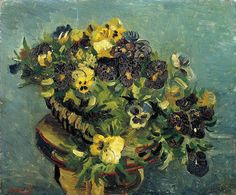 Art of the Day: Van Gogh, Basket with Pansies, early 1886. Oil on canvas, 46.0 x 55.5 cm. Van Gogh Museum, Amsterdam.