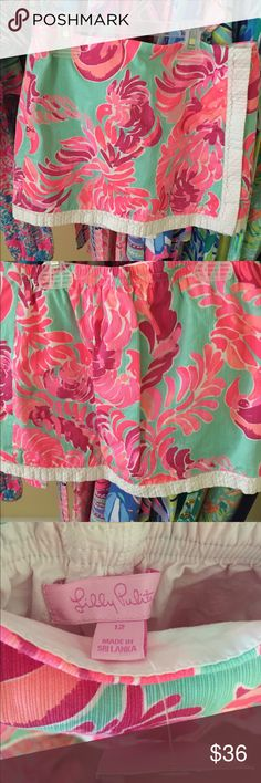 Lilly Pulitzer Girls skort New with tags! Poolside blue lovebirds print. Girls Size 12 Lilly Pulitzer Bottoms Skorts