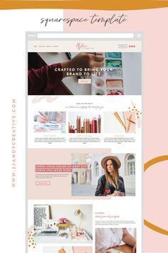 Squarespace Website Template: Modern Day Creative - Are you ready for a website makeover? Use of my simple Squarespace templates to get a fresh look! Web Layout, Website Design Layout, Blog Design, Page Design, Website Designs, Website Ideas, Design Layouts, Website Styles, Layout Site