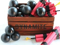 Pirate Dynamite and Cannon Crate Props Pirate Halloween Decorations, Pirate Halloween Party, Pirate Party Games, Pirate Decor, Pirate Birthday, Pirate Theme, Outdoor Halloween, Halloween Projects, Boy Birthday