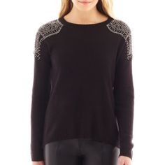 nicole by Nicole Miller® Long-Sleeve Embellished-Shoulder Sweater  found at @JCPenney