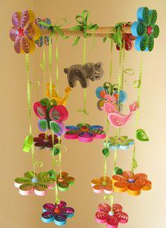 So pretty- Elephant mobile - Crib Mobile -Baby Nursery Mobile -Birds Mobile - Butterfly Mobile -Baby Shower Gift - Birds in Rainbow Garden Handmade 8E. $179.00, via Etsy.