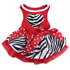 Zebra Heart Dog Dress Medium Red * You can get additional details at the image link.