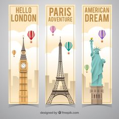Discover thousands of copyright-free vectors. Graphic resources for personal and commercial use. Thousands of new files uploaded daily. Paris Travel, Travel Usa, Flyer Inspiration, London Dreams, Cities, Vector Free Download, Banner Vector, Video Games For Kids, Travel Essentials