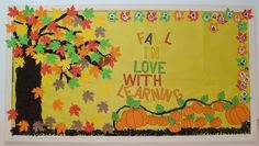 """This teacher has mixed red, yellow, orange, and green leaves together to create a very colorful fall bulletin board display idea for the theme: """"Fall In Love With Learning!"""" Description from pinterest.com. I searched for this on bing.com/images"""