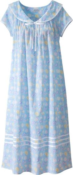 Lanz seashell nightgown features a sailor collar with grosgrain ribbon and capped sleeves. Slip into this nautical cotton lawn gown for exceptional comfort. Stylish Dresses, Fashion Dresses, Night Gown Dress, Cotton Nighties, Nightgown Pattern, Best Pajamas, Night Dress For Women, Nightgowns For Women, Lingerie Outfits