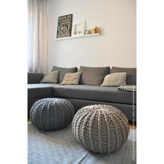 Hand knitted floor cushions /pous/pods/beanbags, variety of colours