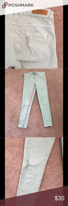 7f7e0395 Zara Core Denim Mint Slim Jean Distressed, zip button fly, 5 pocket style.