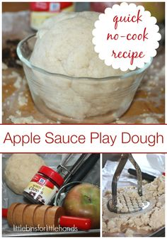 Apple Sauce No Cook Play Dough Made With Coconut Flour. These are super fun kids activities with play dough. Get your kids into play dough and watch them have so much fun creating fun science activities. Cooked Playdough, Homemade Playdough, Apple Activities, Science Activities, Infant Activities, Apple Unit, Apple Theme, Cooked Apples, Dough Recipe