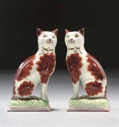 Staffordshire Pottery Cats England, late century Christie's Porcelain Doll Makeup, Porcelain Dolls Value, Porcelain Dolls For Sale, Vintage Pottery, Pottery Art, China Vase, Staffordshire Dog, English Pottery, Ceramic Figures