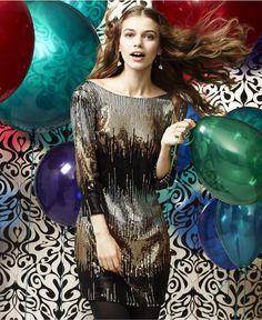 Macy's / As U Wish Dress, Three Quarter Sleeve Sequined Low Back Mini