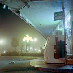 untrustyou: M. Wriston Nocturne, Night Photography, Street Photography, Cinematic Photography, Neon Noir, Gas Station, After Dark, Neon Lighting, Small Towns
