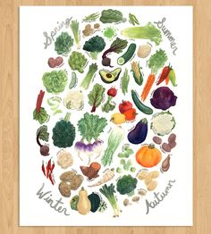Vibrant, whimsical seasonal vegetable print.