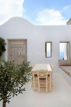 Mykonos island.Cycladic minimal sitting area