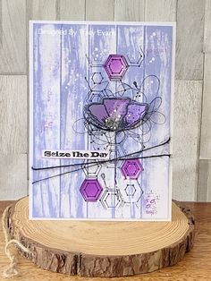 Today I am showcasing a card I created as one of my demo pieces from a few shows I have attended around the country, using my Border Stamp . Journal Art, Art Journals, Hexagon Cards, Seize The Days, The 5th Of November, Rubber Stamping, Simon Says Stamp, Card Designs, Greeting Cards Handmade