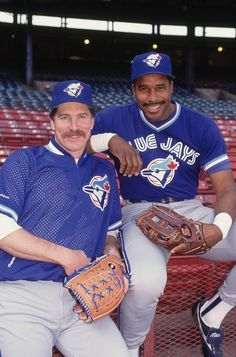 Portrait of Toronto Blue Jays Jack Morris and Dave Winfield during photo shoot before game at Milwaukee County Stadium Milwaukee WI CREDIT. Blue Jay Way, Go Blue, Baseball Pictures, Sports Pictures, Sports Baseball, Baseball Players, Blue Jays World Series, American League, Toronto Blue Jays