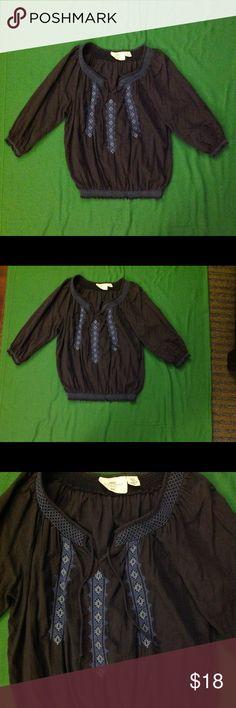 H&M L.O.G.G.  Dark blue boho cotton blouse Dark blue boho cotton blouse. Worn 2-3 times. Excellent used condition. H&M Tops Blouses