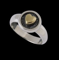 Sterling Silver and 18k Yellow Gold Heart Ring. The Medallion measures 7\/16 in diameter.    This beautiful handmade ring can be made in a number
