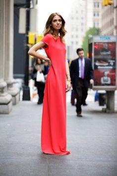 coral maxi dress <3