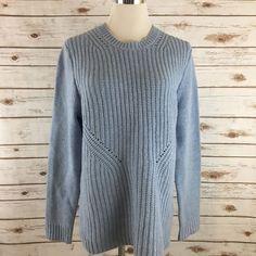 Women's J.Crew Lambswool Pointelle Sweater BLUE Size MEDIUM EUC  | eBay