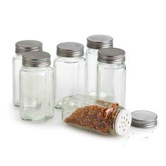 Glass Spice Bottles - Set of 6