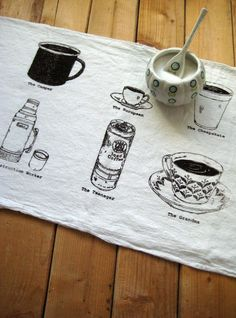 Tea Towel - Screen Printed Organic Cotton Coffee Cups Flour Sack Towel - Awesome Kitchen Towel for Dishes.